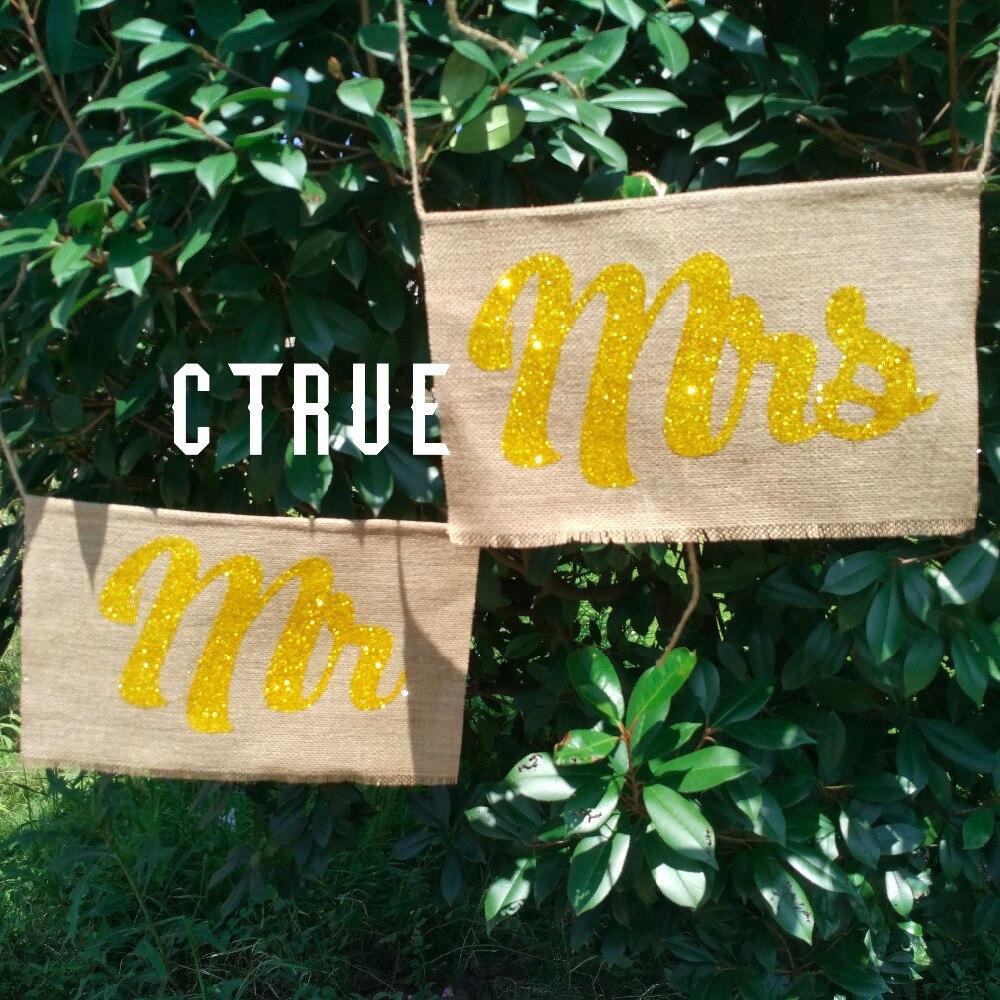 Золото mr Mrs письмо гирлянда баннер 2 шт./компл. Photo Booth плюсы Свадьба пользу Украшение свадебное кресло знаки реквизит для фотосессии