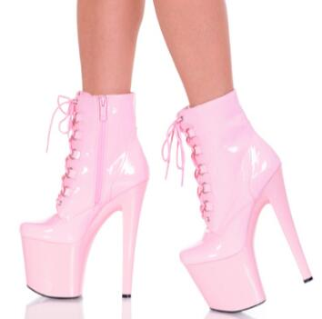 Sexy 20cm thin high heels nightclub dancing boots with lace up cross strap platform shoe ...