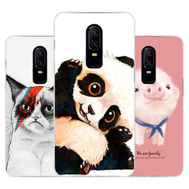 half off 964ca 67f6d US $1.42 5% OFF|OnePlus 6 Case,Silicon panda cartoon Painting Soft TPU Back  Cover for One Plus 6 protect Phone cases-in Fitted Cases from Cellphones &  ...