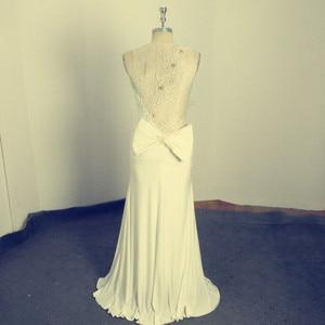 Image 2 - アメージング真珠イリュージョンロングイブニング弓シアーバックノースリーブのセクシーなフォーマルな日のmother花嫁ドレス
