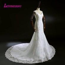 LEIYINXIANG 2019 Wedding Dress Vestido De Noiva Sereia Robe Sexy Mermaid Lace Luxury Bride Berta Bridal Beaded Spaghetti