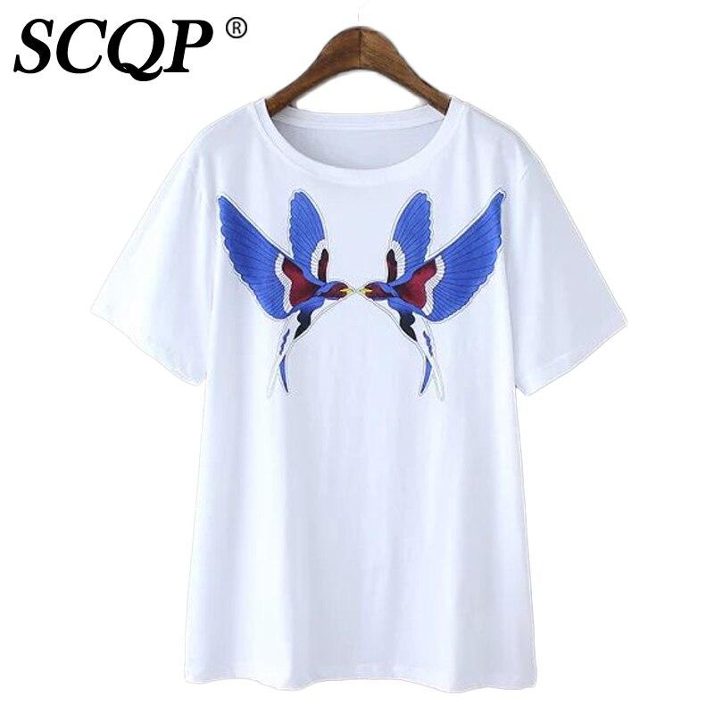 Printed Bird Short T Shirt Femme Summer Tops Sleeve O Neck White Tee Shirt Cotton Office