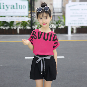 Image 4 - Summer Children Clothing Sets For Girls 2019 Fashion Letter Print Tshirts Tops Shorts Teenage Clothes 2Pcs Kids Suit 10 12 Years