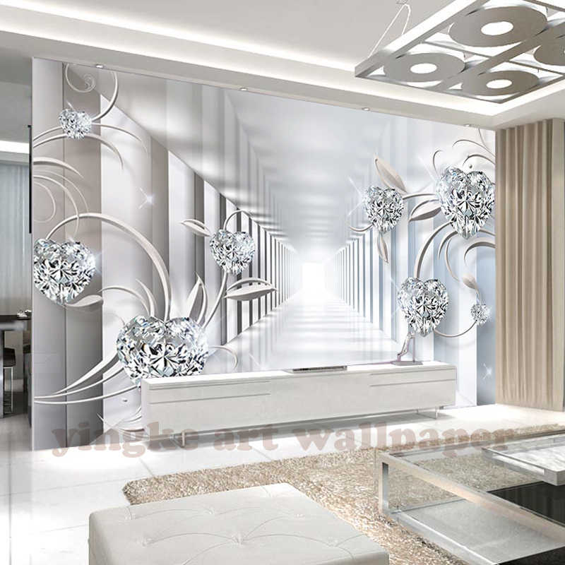 3d wallpaper kustom mural non-woven ruang 3d wallpaper 3d ruang abstrak Eropa bunga jewel flicker foto wallpaper untuk dinding 3d