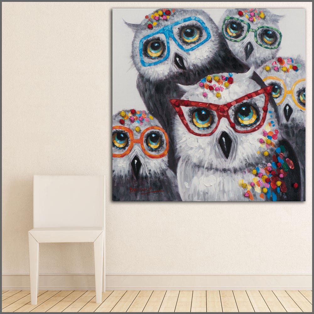 Large Size Printing Oil Painting Abstract 8 Owl Family