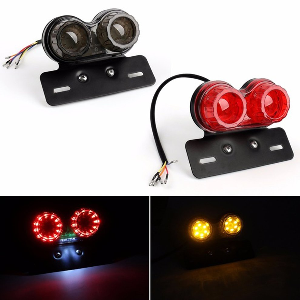 Universal Motorcycle LED Tail Light Motorbike Rear font b Lamp b font License Plate Light with