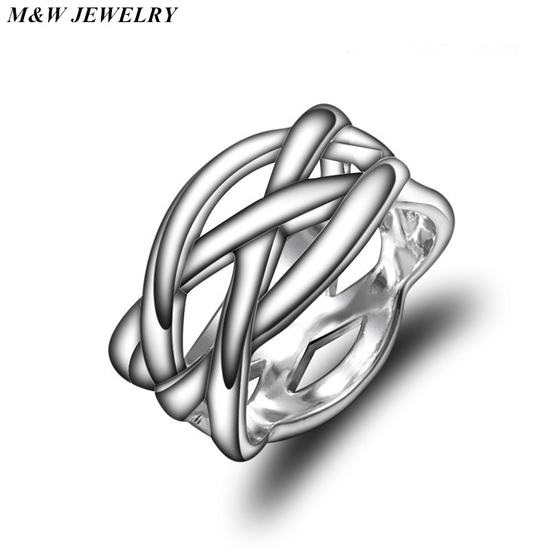M&W JEWELRY Fashion Hot Fashion for Women Jewelry Star Fashion Ring Plated silver Fishnet Braided Ring