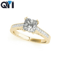QYI 14k Yellow gold Simulated Diamond Ring Set Engagement Wedding Rings Square Cut Unique Design for Women