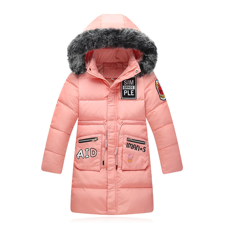 2018 Baby Girls Duck Down Winter Letter Jackets Coat Long Thick Warm Children's Winter Clothing Outerwear Coats Hooded Jacket girl duck down jacket winter children coat hooded parkas thick warm windproof clothes kids clothing long model outerwear