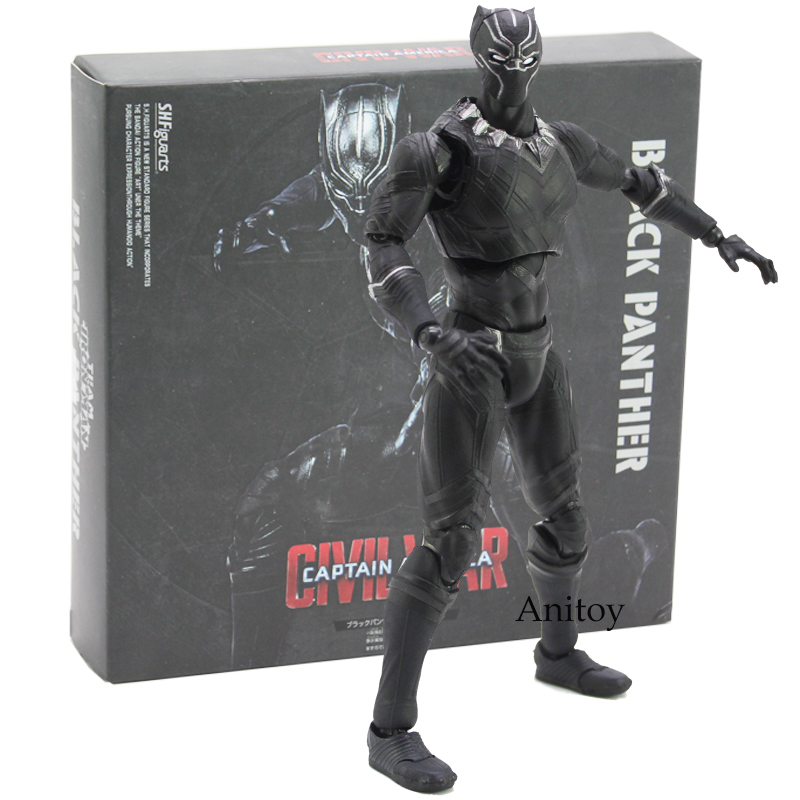 SHFiguarts Captain America Civil War Black Panther Action Figure Collectible Model Toy 16cm avengers captain america 3 civil war black panther 1 2 resin bust model panther statue panther half length photo or portrait