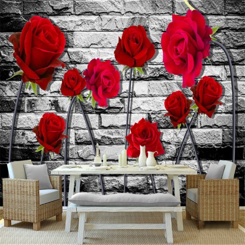 3d custom modern non-woven mural wallpaper red rose painting TV sofa background wallpaper home decor for bedding room custom 3d photo mural wallpaper tv background wallpaper bedding room dynamic sports car 3d non woven wallpapers home decor