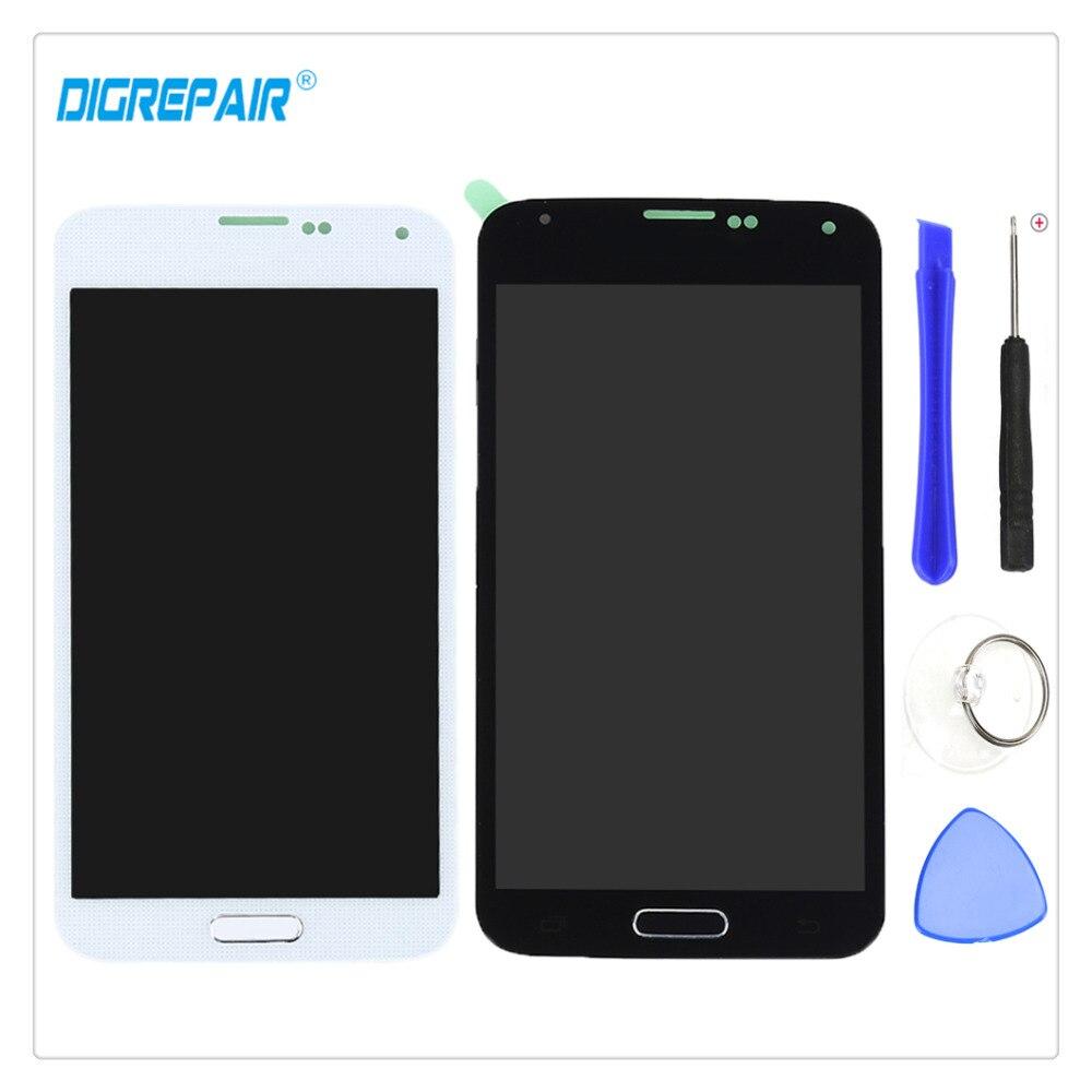 5 para la galaxia S5 g900f g900m g900a g900t LCD pantalla táctil digitalizador completo Piezas de montaje + botón casero + reparación Herramientas