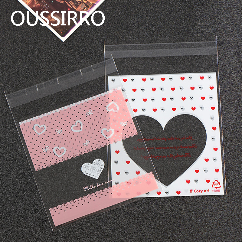 50Pcs Kawaii Valentine Self-adhesive Cookies Packaging Bag Plastic Gift Bag For Biscuits Snack Wedding Party Package Bags Favors