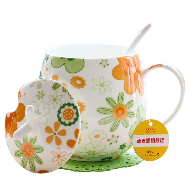 Bone Porcelain Mugs Creative Porcelain Cups with Coffers Couple Milk Breakfast Coffee Cup Cute