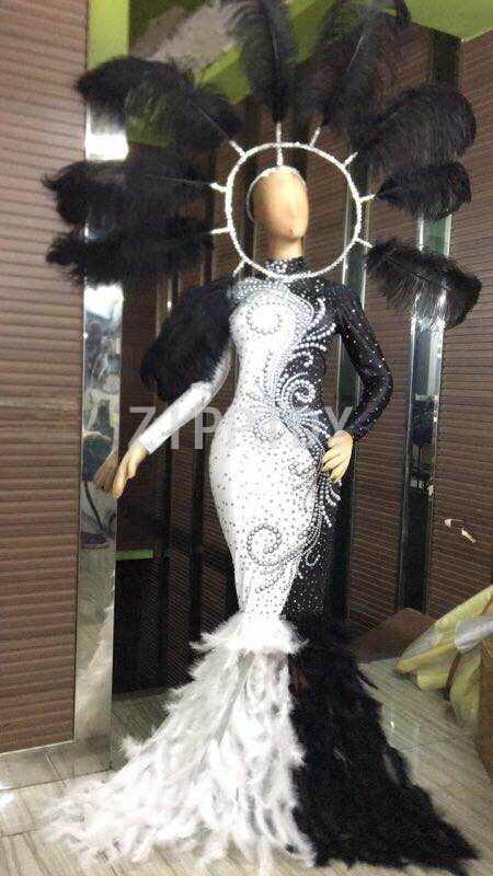 Birthday Celebrate Outfit Nightclub Party Singer Black White Rhinestones Pearls Feather Stretch Long Dress Show Costume Dress