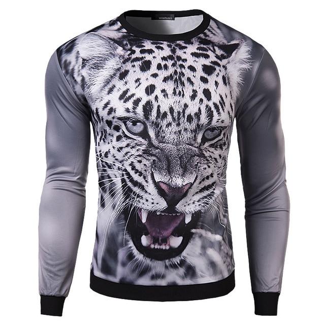 aeb50297faeb 2015 fashion men T shirt 3D printed Snow leopard print novelty men's long  sleeve t-shirt