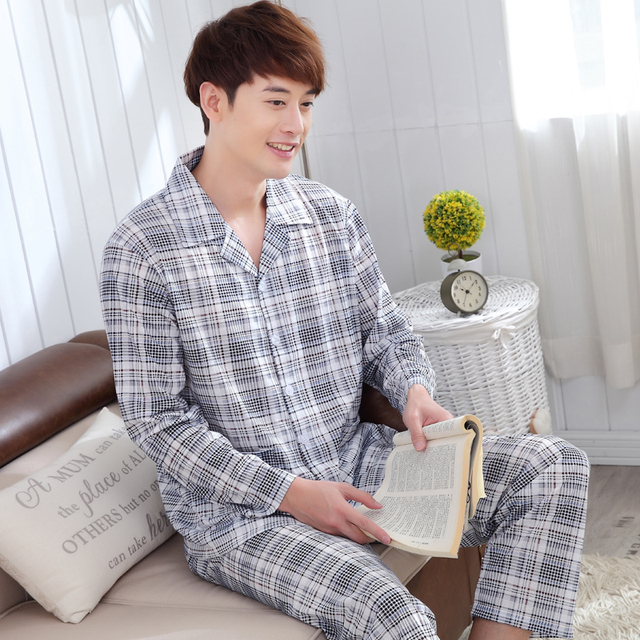 2016 autumn and winter new fashion plaid lapel fashion simple pajamas