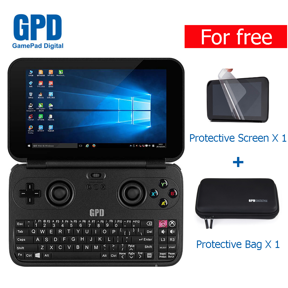 все цены на  GPD WIN Aluminium Shell Version 5.5 inch X7 Z8750 Handheld Game Console Windows 10 Game Player with Protective Film and Bag  онлайн