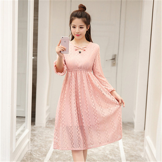 Spring Maternity Fashion Hollowed Out Dressess Organza Dresses High Waist Clothing For Pregnant Women Maternity Clothes