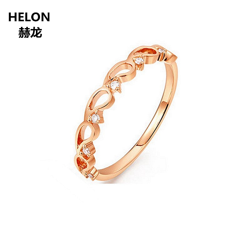 Solid 14k Rose Gold SI/H Natural Diamonds Women Ring Engagement Wedding Anniversary Party Fine Jewelry