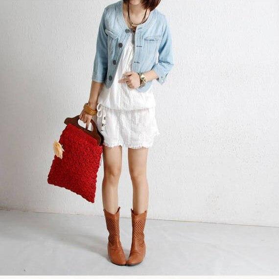 Autumn Women Vintage Jeans   Jacket   Outwear Long Sleeve Cropped Denim   Jacket   Coats Button Fashion Short   Basic     Jackets