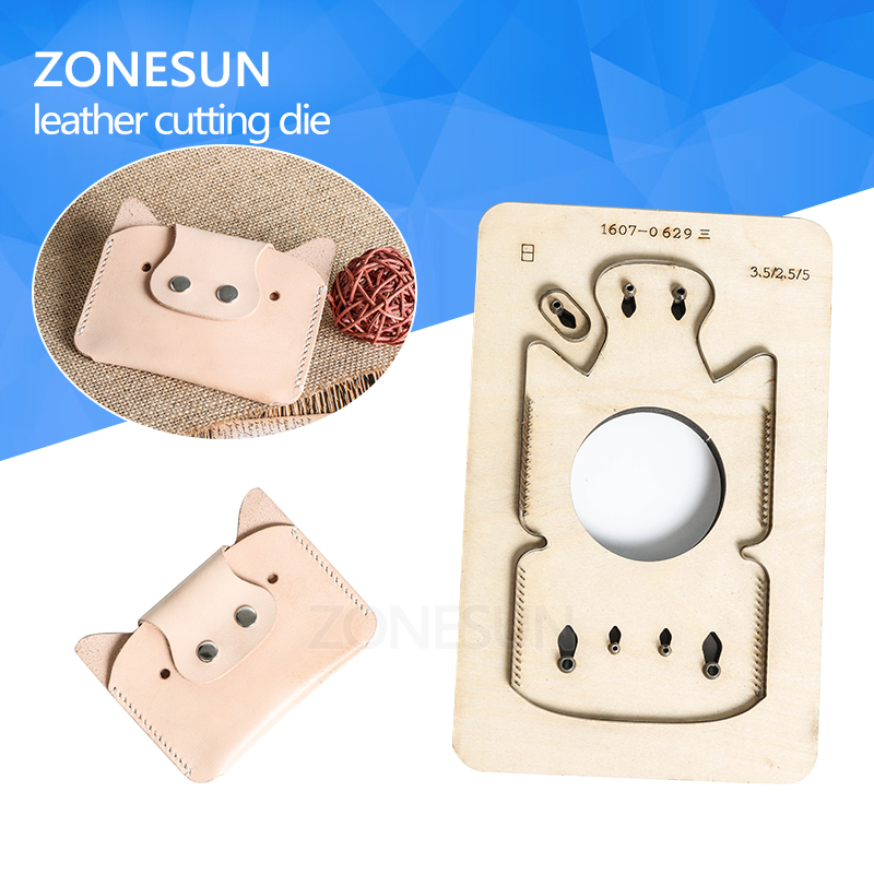 ZONESUN Customized pig shape Leather Craft DIY Wooden Template Knife Punching tool punch Cutting mold die animal Japanese steel diy lattice pattern carbon steel cutting die