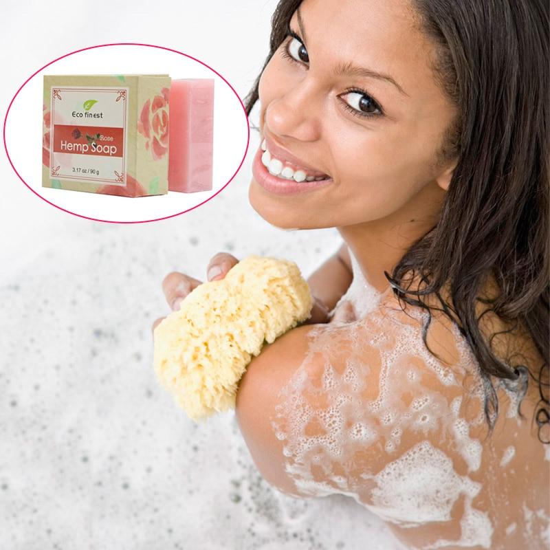 Practical Handy 6 Pcs Handmade Hemp Oil Soap Skin Care Revitalizing Scent With Tea Tree Rose Lavender MSI-19