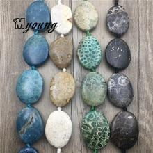شكل البيض مصقول أقحوان حجر شريحة الخرز ، طبيعة حجر مركز حفر قلادة الخرز MY1751