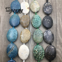 Egg Shape Polished Chrysanthemum Stone Slice Beads,Nature Stone Center Drilled Pendant Beads MY1751