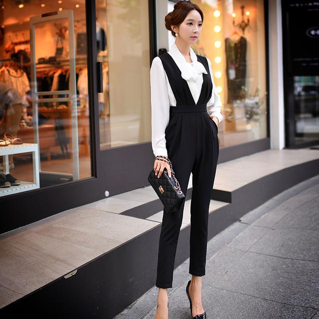 Calças originais Da Marca 2016 Senhoras Primavera Outono Plus Size V Pescoço Cintura Alta Moda Elegante Macacão Preto Atacado
