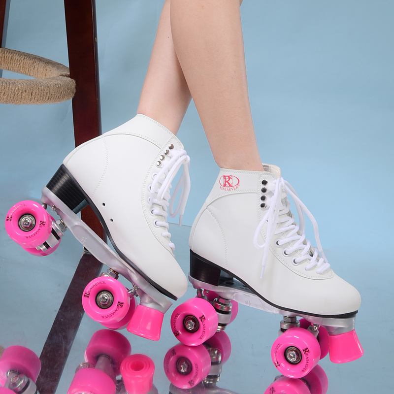 Double roller skates roller skating 4 wheels pulleys shoes women's polyurethane pink wheels white shoes free shipping reniaever double roller skates skating shoe gift girls black wheels roller shoe figure skates white free shipping