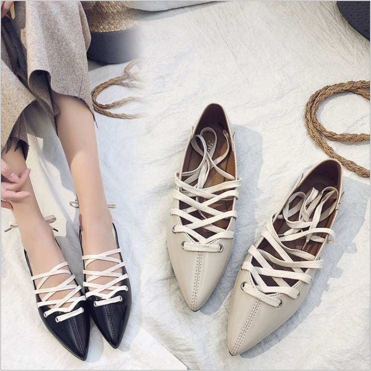 Casual Cross-tied Lace-up Ballet Flats PU Leather Pointed Toe Narrow Band Women Flats Shoes Q0080 2017 womens spring shoes casual flock pointed toe narrow band string bead ballet flats flat shoes cover heel women flats shoes