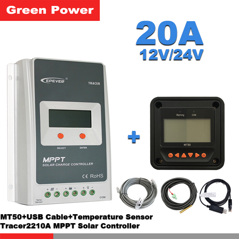 Tracer2210AN 20A 12V/24V MPPT solar charge controller with MT50 remote meter and USB communication cable & temperature sensorTracer2210AN 20A 12V/24V MPPT solar charge controller with MT50 remote meter and USB communication cable & temperature sensor