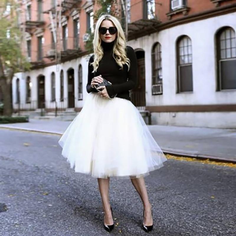 2018 été vintage jupes femmes élastique taille haute tulle maille jupon plissé tutu jupe femmes Saias midi faldas jupe