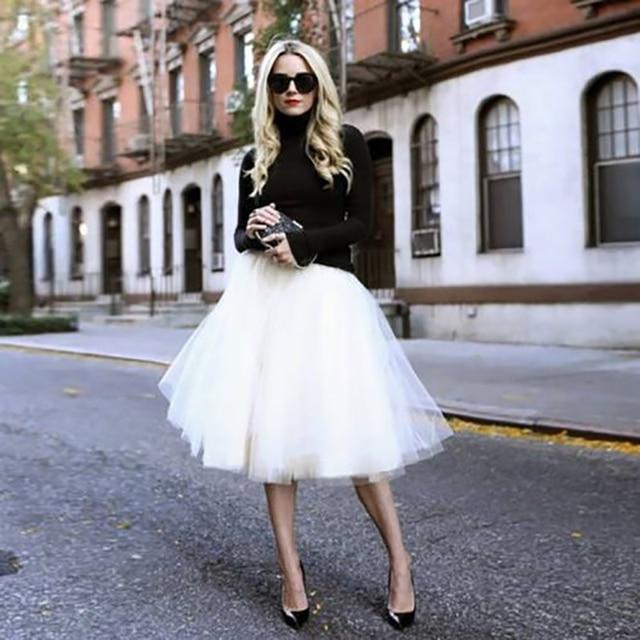 5Layers 65cm Summer vintage skirts women Elastic High Waist tulle mesh Petticoat Pleated tutu skirt women Saias midi faldas jupe