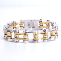 98g High Quality Silver Gold Tone CZ 316L Stainless Steel Motorcycle Bracelet For Confident Men S