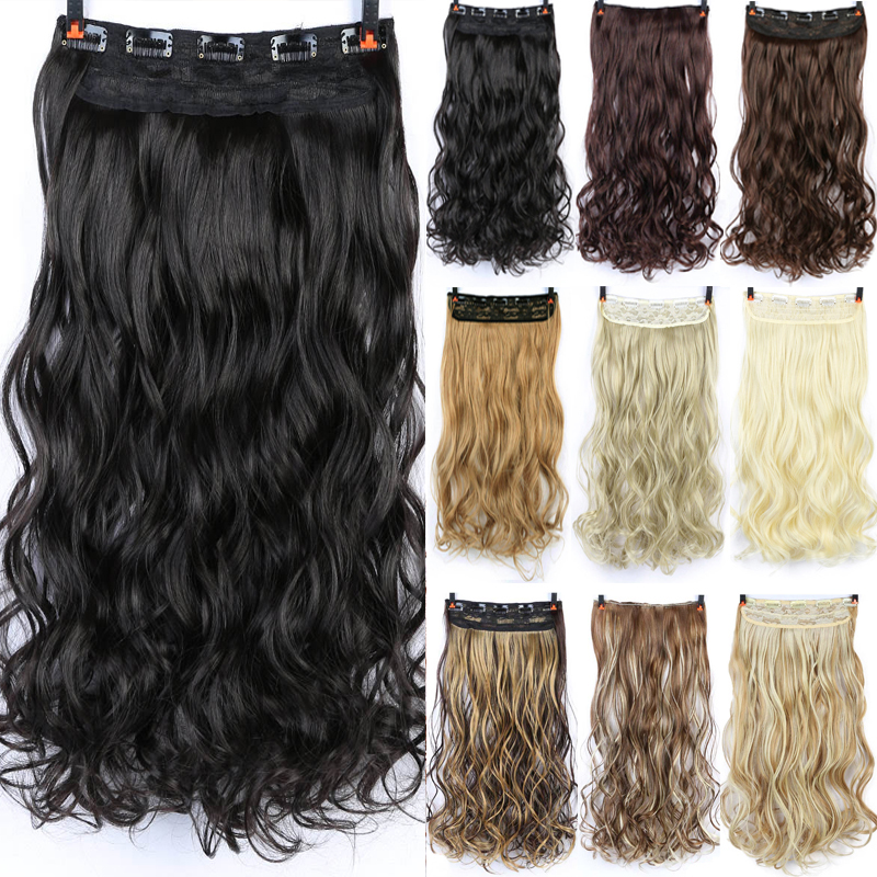 DIFEI 24-дюймовые длинные кудрявые женские накладные волосы с 5 зажимами черные коричневые высокотемпературные синтетические волосы