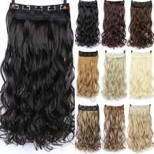 Difei extensor de cabelo encaracolado, 24 Polegada 5 grampos longos extensões de cabelo preto, castanho, alta temperatura, peruca sintética