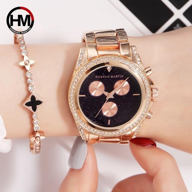 New Design Rose Gold Women Watch Japan Quartz Movement Rhinestones Luxury Diamond Ladies Waterproof Casual Creative Wristwatch