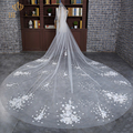 2017 Hot Sale Luxury Bridal Veils 3.5 Meters Long Lace Edge Wedding Veil White/Ivory  With Comb Wedding Accessories voile