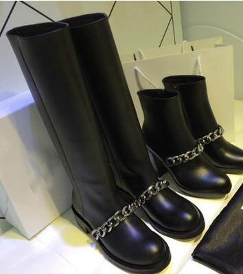 2017 new fashion chain PU  boots square med heel shoes ankle riding women boots knee-high motorcycle boots elegant boots
