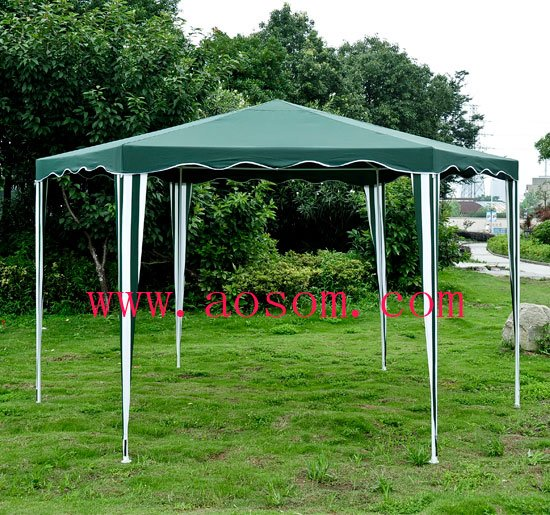 Aosom Outdoor Hexagon Canopy Gazebo Tent - Green/White & Aosom Outdoor Hexagon Canopy Gazebo Tent Green/White-in Gazebos from ...