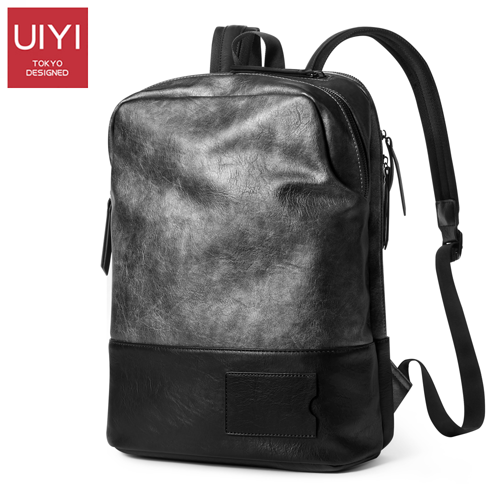 UIYI Men Backpacks PU Leather Waterproof Bags 14 Inch Laptop Backpack Computer Bag big capacity School bag For women summer bag new gravity falls backpack casual backpacks teenagers school bag men women s student school bags travel shoulder bag laptop bags