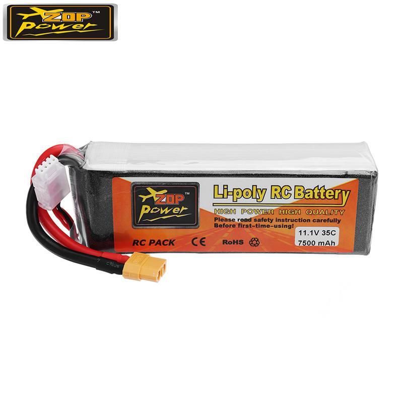 ZOP Puissance 11.1 v 7500 mah 35C 3 s Lipo Rechargeable Batterie XT60 Prise pour Quadcopter RC Modèles De Voiture De Rechange pièces Accessoires
