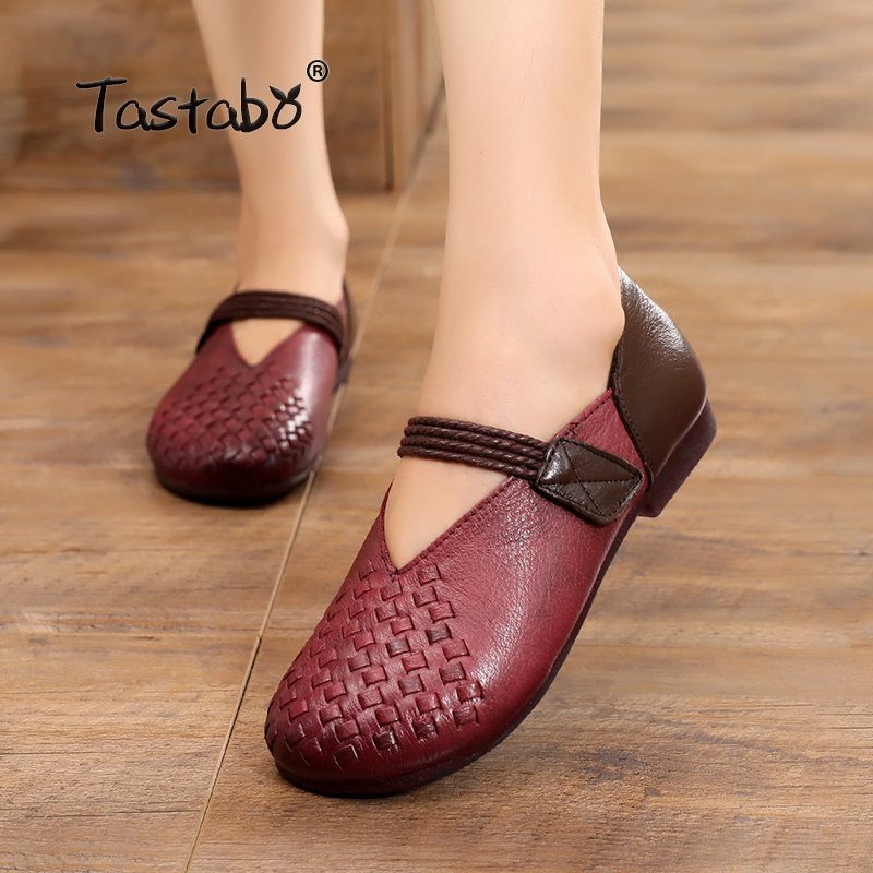 Tastabo 2018 Loafers Casual Flat Shoe Pregnant Women Shoe Female Women Flats Hand-Sewing Shoes genuine leather flats for ladies цена