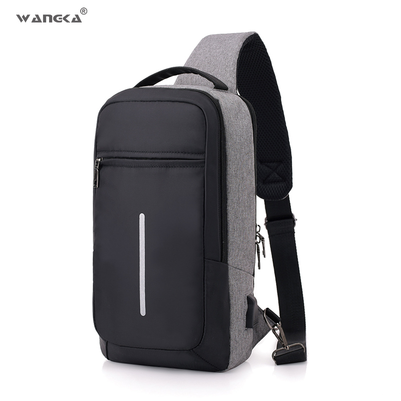 WANGKA Fashion Casual Sling Nylon Chest Bag Men USB Charging One Shoulder Short Trip Bag Crossbody Single Anti Theft Waterproof