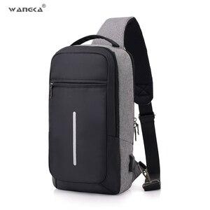 Image 1 - WANGKA אופנה מקרית קלע ניילון חזה תיק גברים USB טעינה אחד כתף קצר טיול תיק Crossbody אחת נגד גניבה עמיד למים