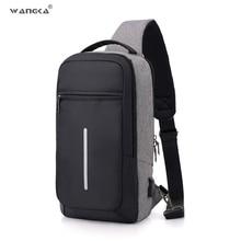 WANGKA moda rahat Sling naylon göğüs çantası erkek USB şarj bir omuz kısa seyahat çantası Crossbody tek Anti hırsızlık su geçirmez