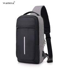 WANGKA mode décontracté fronde en Nylon sac de poitrine hommes USB charge une épaule court voyage sac bandoulière unique Anti vol étanche