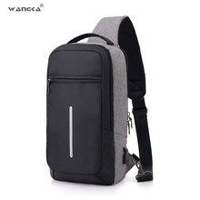 Модная Повседневная нейлоновая нагрудная сумка WANGKA для мужчин, зарядка через usb, на одно плечо, короткая походная сумка через плечо, одиночная Противоугонная водонепроницаемая сумка